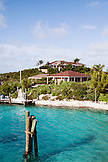 EXUMA, Bahamas. A view of the office and Hill House which is the main common area at the Fowl Cay Resort.