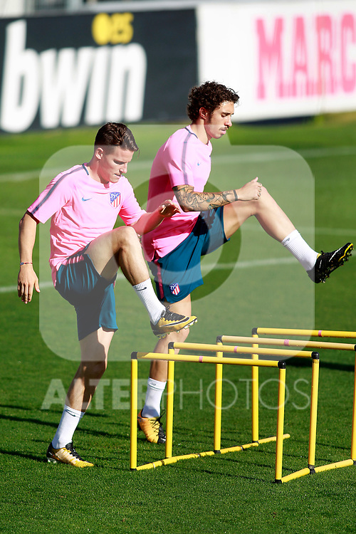 Atletico de Madrid's Kevin Gameiro (l) and Sime Vrsaljko during training session. September 26,2017.(ALTERPHOTOS/Acero)