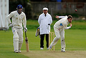 Scottish National Cricket League, Premier Div - Dunfermline CC V Aberdeenshire CC, at McKane Park, Dunfermline - under the watchful eye of Umpire Brian Anderson, Aberdeenshire's Shaun Coetzer bowls past Dunfermline Pro Alistair Gray - Picture by Donald MacLeod 25.04.10 - mobile 07702 319 738