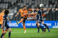 29th July 2020; Bankwest Stadium, Parramatta, New South Wales, Australia; A League Football, Melbourne Victory versus Brisbane Roar; Scott McDonald of Brisbane Roar leaps to wins the header from a cross and score his goal for 0-1 in the 56th minute
