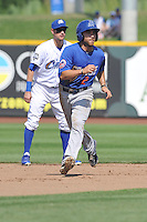 Anthony Serratelli #2 of the Las Vegas 51s leads off second base against the Omaha Storm Chasers at Werner Park on August 17, 2014 in Omaha, Nebraska. The Storm Chasers  won 4-0.   (Dennis Hubbard/Four Seam Images)