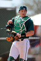 Chicago State University Cougars catcher Eric O'Brien #10 during a game against the Muskingum Fighting Muskies at South County Regional Park on March 3, 2013 in Punta Gorda, Florida.  (Mike Janes/Four Seam Images)