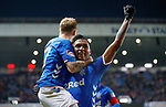 24.11.2018 Rangers v Livingston: Scott Arfield celebrates after getting goal no 3 for Rangers with Alfredo Morelos