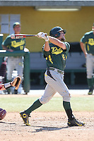 Tim Susnara (6) of the Oregon Ducks bats during a game against the Southern California Trojans at Dedeaux Field on April 18, 2015 in Los Angeles, California. Oregon defeated Southern California, 15-4. (Larry Goren/Four Seam Images)