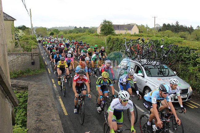 The peloton near Ballyjamesduff during Stage 1 of the 2017 An Post Ras running 146.1km from Dublin Castle to Longford, Ireland. 21st May 2017.<br /> Picture: Andy Brady | Cyclefile<br /> <br /> <br /> All photos usage must carry mandatory copyright credit (&copy; Cyclefile | Andy Brady)
