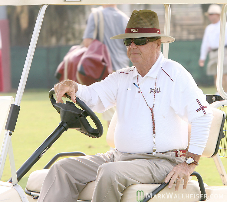 Florida State head coach Bobby Bowden rides his golf cart across the practice field on the second day of FSU football practice August 8, 2007.   (Mark Wallheiser/TallahasseeStock.com)