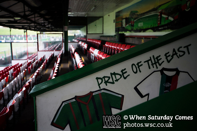 Glentoran 2 Cliftonville 1, 22/10/2016. The Oval, NIFL Premiership. A view of the family area of the main stand, reserved for home supporters at The Oval, Belfast, pictured before Glentoran hosted city-rivals Cliftonville in an NIFL Premiership match. Glentoran, formed in 1892, have been based at The Oval since their formation and are historically one of Northern Ireland's 'big two' football clubs. They had an unprecendentally bad start to the 2016-17 league campaign, but came from behind to win this fixture 2-1, watched by a crowd of 1872. Photo by Colin McPherson.