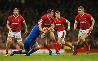1st February 2020; Millennium Stadium, Cardiff, Glamorgan, Wales; International Rugby, Six Nations Rugby, Wales versus Italy; Ryan Elias of Wales is tackled by Giovanni Licata of Italy