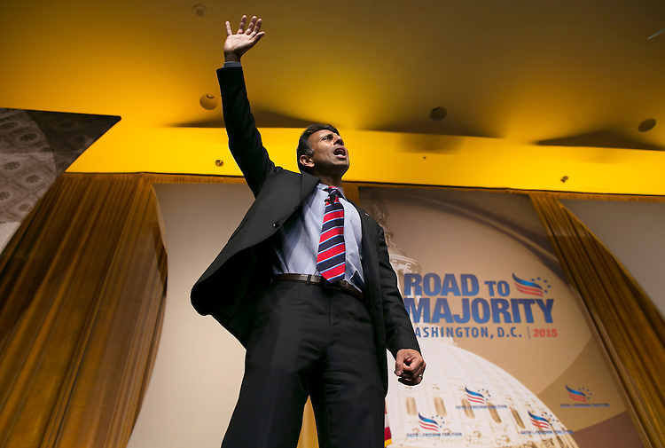 UNITED STATES - JUNE 19- Republican presidential candidate, Louisiana Gov. Bobby Jindal thanks the crowd after speaking during the Faith & Freedom Coalition's Road to Majority conference which featured speeches by conservative politicians at the Washington D.C. Omni Shoreham Hotel, June 19, 2015. (Photo By Al Drago/CQ Roll Call)