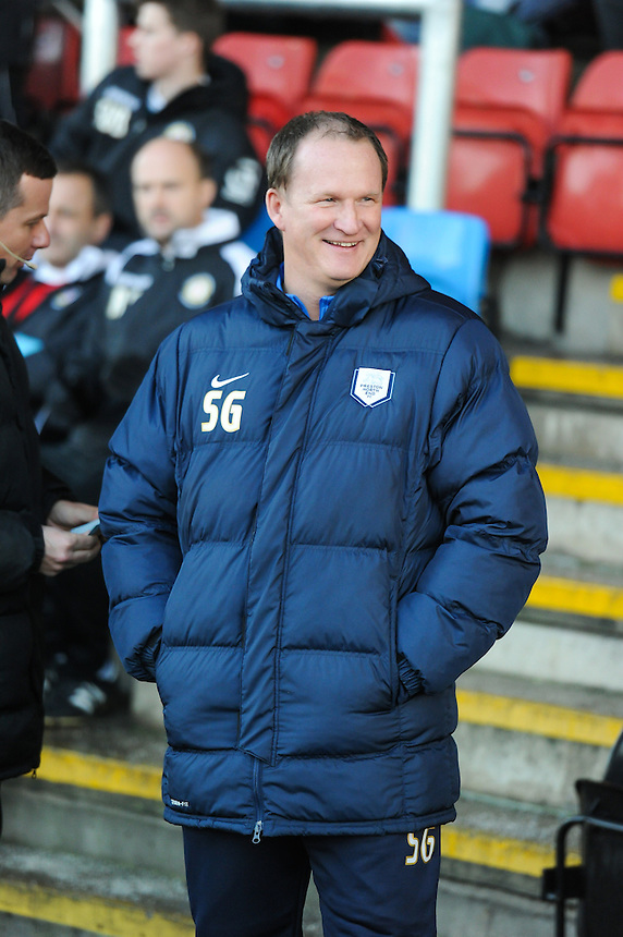 Preston North End manager Simon Grayson ahead of todays game with Crewe Alexandra<br /> <br /> Photographer Craig Thomas/CameraSport<br /> <br /> Football - The Football League Sky Bet League One - Crewe Alexandra v Preston North End - Sunday 28th December 2014 - Alexandra Stadium - Crewe<br /> <br /> &copy; CameraSport - 43 Linden Ave. Countesthorpe. Leicester. England. LE8 5PG - Tel: +44 (0) 116 277 4147 - admin@camerasport.com - www.camerasport.com