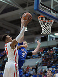 February 20, 2016 - Colorado Springs, Colorado, U.S. -   New Mexico guard, Elijah Brown #4, drives for the basket during an NCAA basketball game between the University of New Mexico Lobos and the Air Force Academy Falcons at Clune Arena, United States Air Force Academy, Colorado Springs, Colorado.    Air Force defeats New Mexico 76-72.