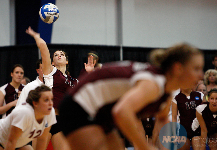 05 DEC 2009:  West Texas A&M University's Kelsey Mangum (16) serves during the Division II Women's Volleyball Championship held at the Gangelhoff Center on the campus of Concordia University in St. Paul, MN.  Concordia defeated West Texas A&M 3-0 for the national title.  Carlos Gonzalez/NCAA Photos