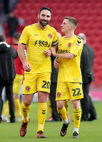 Fleetwood Town's Craig Morgan &amp; Ashley Hunter are all smiles at the final whistle<br /> <br /> Photographer David Shipman/CameraSport<br /> <br /> The EFL Sky Bet League One - Doncaster Rovers v Fleetwood Town - Saturday 6th October 2018 - Keepmoat Stadium - Doncaster<br /> <br /> World Copyright &copy; 2018 CameraSport. All rights reserved. 43 Linden Ave. Countesthorpe. Leicester. England. LE8 5PG - Tel: +44 (0) 116 277 4147 - admin@camerasport.com - www.camerasport.com