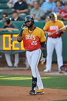 Jo Adell (26) of the Salt Lake Bees walks to the plate for his first Triple-A at bat during a game against the Oklahoma City Dodgers at Smith's Ballpark on August 1, 2019 in Salt Lake City, Utah. The Bees defeated the Dodgers 14-4. (Stephen Smith/Four Seam Images)