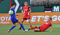 Portland, OR - Saturday July 30, 2016: Keelin Winters, Dagny Brynjarsdottir during a regular season National Women's Soccer League (NWSL) match between the Portland Thorns FC and Seattle Reign FC at Providence Park.