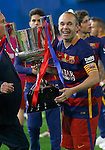FC Barcelona's Andres Iniesta celebrates the victory in the Spanish Kings Cup Final match. May 22,2016. (ALTERPHOTOS/Acero)