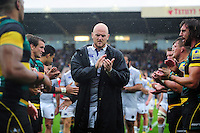 Matt Garvey of Bath Rugby leads his team off the field after the match. Aviva Premiership match, between Northampton Saints and Bath Rugby on September 3, 2016 at Franklin's Gardens in Northampton, England. Photo by: Patrick Khachfe / Onside Images