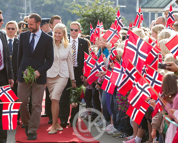 Crown Prince Haakon and Crown Princess Mette-Marit of Norway arrive at Lillesand Harbour to begin a three day visit, to the county of Aust-Agder in Southern Norway