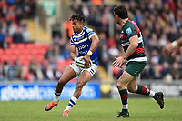 Anthony Watson of Bath Rugby looks to pass the ball. Gallagher Premiership match, between Leicester Tigers and Bath Rugby on May 18, 2019 at Welford Road in Leicester, England. Photo by: Patrick Khachfe / Onside Images