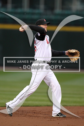 Rochester Red Wings shortstop Chase Lambin #2 in the field during a game against the Scranton Wilkes-Barre Yankees at Frontier Field on April 12, 2011 in Rochester, New York.  Scranton defeated Rochester 5-3.  Photo By Mike Janes/Four Seam Images