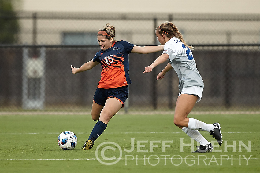SAN ANTONIO, TX - AUGUST 10, 2018: The University of Texas at San Antonio Roadrunners defeat the Houston Baptist University Huskies 1-0 in an exhibition soccer match at the Park West Athletic Complex. (Photo by Jeff Huehn)