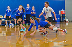 18 October 2015: Yeshiva University Maccabee Defensive Specialist and Outside Hitter Carol Jacobson, a Senior from Seattle, WA, digs during game action against the Sage College Gators, at the Peter Sharp Center, College of Mount Saint Vincent, in Riverdale, NY. The Gators defeated the Maccabees 3-0 in the NCAA Division III Women's Volleyball Skyline matchup. Mandatory Credit: Ed Wolfstein Photo *** RAW (NEF) Image File Available ***