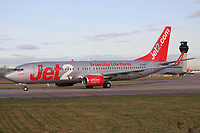 A Jet2 Boeing 737-8K2 Registration G-GDFC named Jet2 Faro at Manchester Airport on 11.2.19 going to Faro Airport, Portugal.