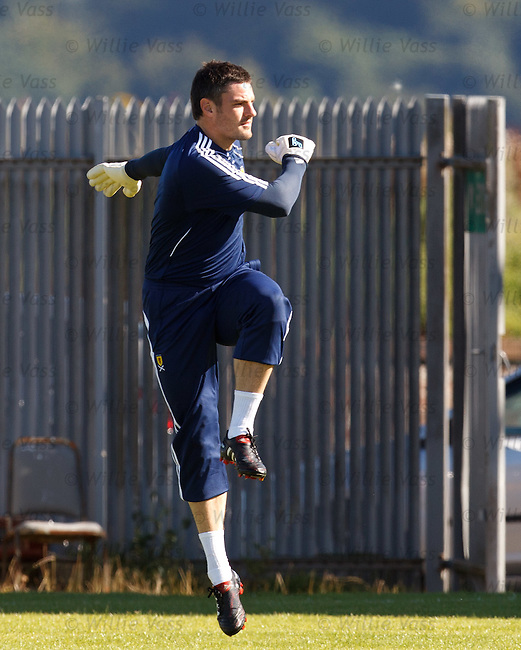 Blackpool goalie Matt Gilks arrives for his first training session with Scotland