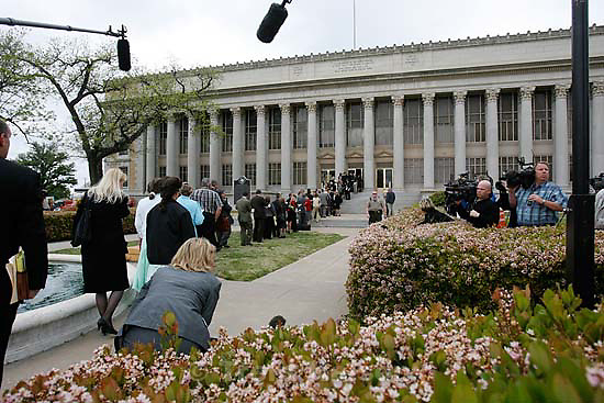 San Angelo - a 14-day hearing at the 51st District (Tom Green County) Courthouse to decide the fate of 416 children removed in a raid from the FLDS Church's YFZ Ranch. Thursday April 17, 2008.  The long line of attorneys waiting to get into the courthouse.