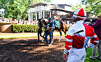STANTON, DE - JULY 15: Songbird #5 walks in the paddock as jockey Mike Smith watches before winning the Delaware Handicap on Delaware Handicap Day on July 8, 2017 at Delaware Park Race Track in Stanton, Delaware. (Photo by Scott Serio/Eclipse Sportswire/Getty Images)