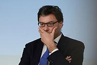 Roma, 3 Luglio 2018<br /> il Sottosegretario alla Presidenza Giancarlo Giorgetti.<br /> Presentazione alla stampa del Decreto Dignit&agrave; varato dal Governo