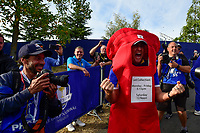 30th September 2018, National Golf Centre, Guyancourt, Yvelines department in the Île-de-France,  north-central France; 42nd Ryder Cup tournament, Europe versus USA;  Ian Poulter of England (Team Europe) in fancy dress