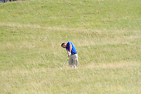 Ian O'Rourke (The Royal Dublin) on the 1st during the Quarter Finals of The South of Ireland in Lahinch Golf Club on Tuesday 29th July 2014.<br /> Picture:  Thos Caffrey / www.golffile.ie