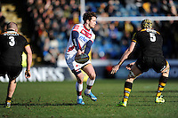 Danny Cipriani of Sale Sharks passes during the Aviva Premiership match between London Wasps and Sale Sharks at Adams Park on Saturday 1st March 2014 (Photo by Rob Munro)