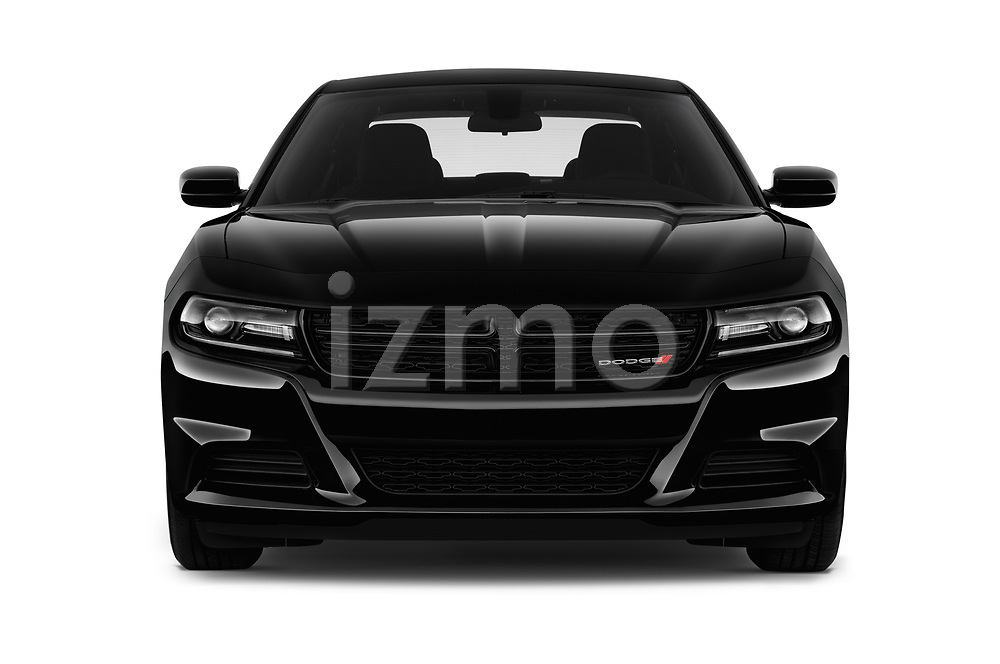 Car photography straight front view of a 2018 Dodge Charger SXT 4 Door Sedan