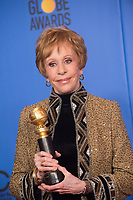 Carol Burnett poses backstage with the Carol Burnett Award for her outstanding contribution to television at the 76th Annual Golden Globe Awards at the Beverly Hilton in Beverly Hills, CA on January 6, 2019.<br /> *Editorial Use Only*<br /> CAP/PLF/HFPA<br /> Image supplied by Capital Pictures