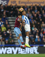 West Ham United's Fabian Balbuena and Huddersfield Town's Steve Mounie<br /> <br /> Photographer Rob Newell/CameraSport<br /> <br /> The Premier League - Huddersfield Town v West Ham United - Saturday 10th November 2018 - John Smith's Stadium - Huddersfield<br /> <br /> World Copyright © 2018 CameraSport. All rights reserved. 43 Linden Ave. Countesthorpe. Leicester. England. LE8 5PG - Tel: +44 (0) 116 277 4147 - admin@camerasport.com - www.camerasport.com