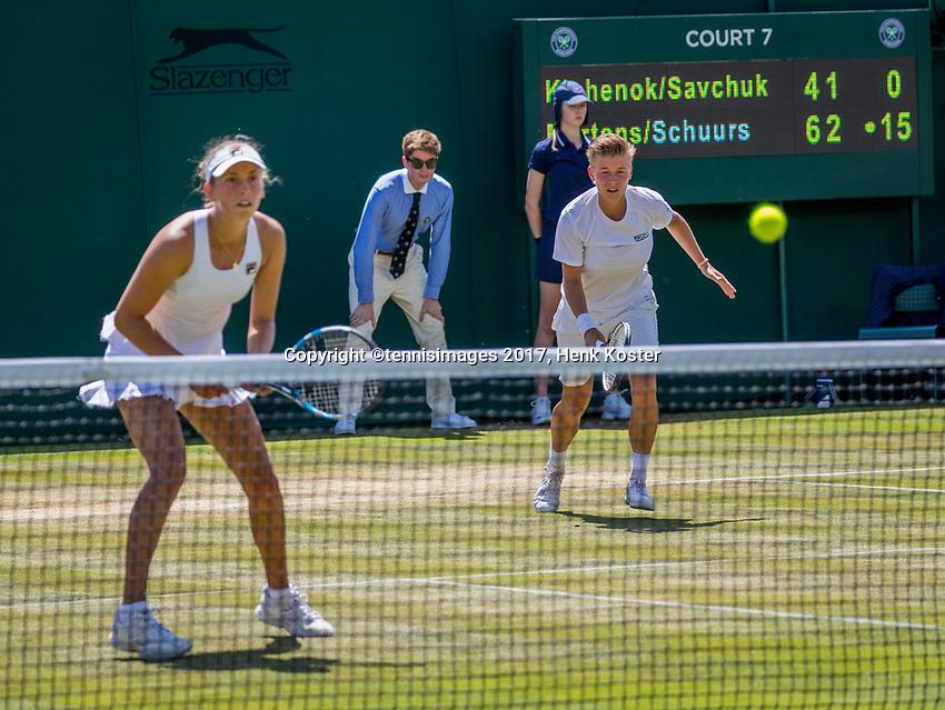London, England, 7 th July, 2017, Tennis,  Wimbledon, Womans doubles: Elise Mertens (BEL) / Demi Schuurs (NED) (R)<br /> Photo: Henk Koster/tennisimages.com