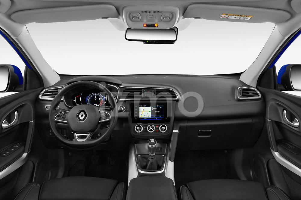 Stock photo of straight dashboard view of 2019 Renault Kadjar Intens 5 Door SUV Dashboard