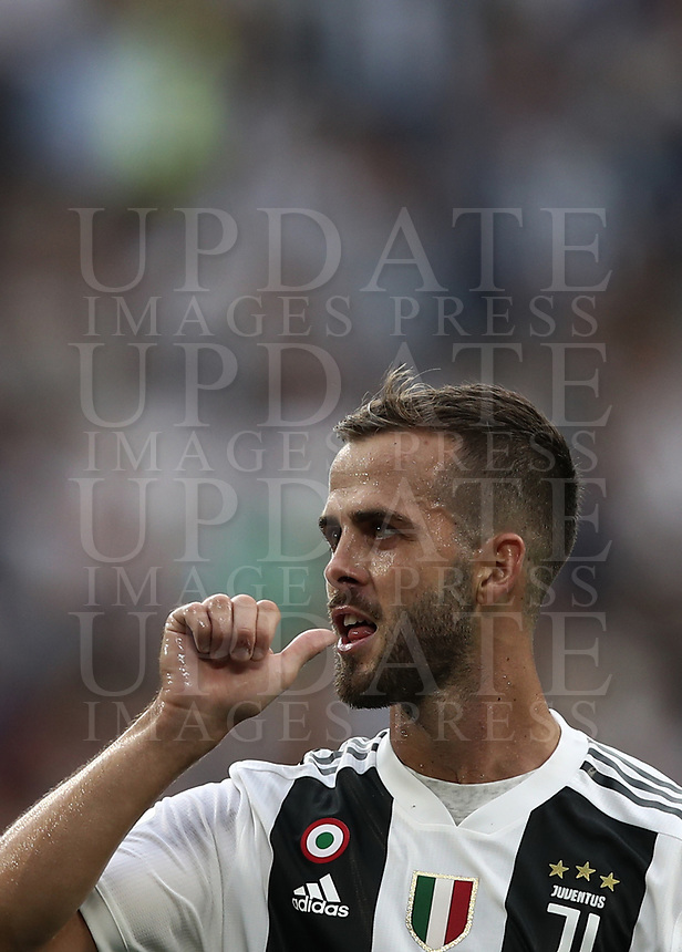 Calcio, Serie A: Juventus - Lazio, Torino, Allianz Stadium, 25 agosto, 2018.<br /> Juventus' Miralem Pjanic celebrates after scoring during the Italian Serie A football match between Juventus and Lazio at Torino's Allianz stadium, August 25, 2018.<br /> UPDATE IMAGES PRESS/Isabella Bonotto
