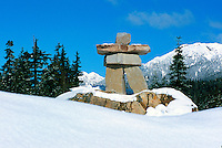 Inukshuk at Whistler Olympic Park and Nordic Centre, near Whistler Ski Resort, BC, British Columbia, Canada - Symbol of the 2010 Winter Olympics