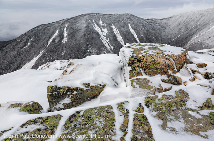 View from along the Bondcliff Trail on the summit of Bondcliff in the Pemigewasset Wilderness of the New Hampshire White Mountains on a cloudy winter day.