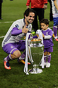 June 3rd 2017, Cardiff City Stadium, Wales; UEFA Champions League Final, Juventus FC versus Real Madrid; Isco  celebrates with the trophy after their victory