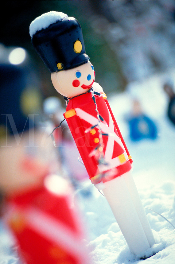 Christmas decoration - toy soldier display in winter setting.