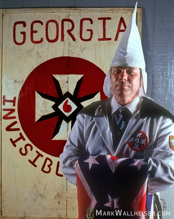 Historic photo of The Kleagle in the Knights of the Klu Klux Klan in Blakely, Georgia July 19, 1990.  A Kleagle is in charge of recruitment and establishing Klaverns (groups of 15 members) in the 7 counties sorrounding Early County, Ga.
