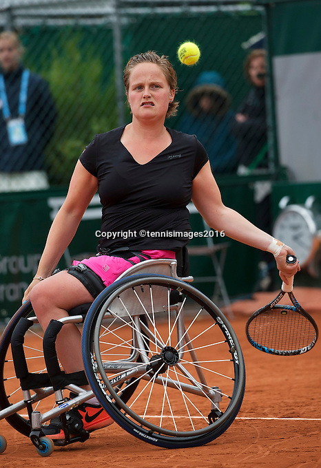 Paris, France, 01 June, 2016, Tennis, Roland Garros, Womans Wheelchair tennis, Aniek van Koot (NED)<br /> Photo: Henk Koster/tennisimages.com