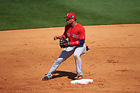 Boston Red Sox second baseman Yoan Moncada (22) waits for a throw during a Spring Training game against the Pittsburgh Pirates on March 9, 2016 at McKechnie Field in Bradenton, Florida.  Boston defeated Pittsburgh 6-2.  (Mike Janes/Four Seam Images)
