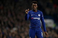 30th October 2019; Stamford Bridge, London, England; English Football League Cup, Carabao Cup, Chelsea Football Club versus Manchester United; Callum Hudson-Odoi of Chelsea gives the thumbs up to fans as they call his name - Strictly Editorial Use Only. No use with unauthorized audio, video, data, fixture lists, club/league logos or 'live' services. Online in-match use limited to 120 images, no video emulation. No use in betting, games or single club/league/player publications