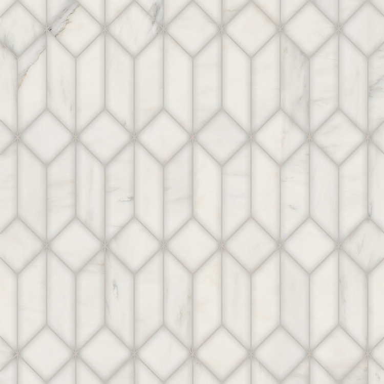 Madison, a hand-cut stone mosaic, shown in polished Calacatta Radiance, is part of the Semplice® collection for New Ravenna.