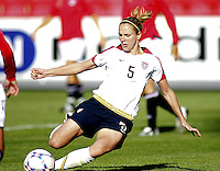 Lindsay Tarpley shoots the first goal for the US. USA 4,  Norway 0, Fredrikstad Stadium, July 2, 2008. .